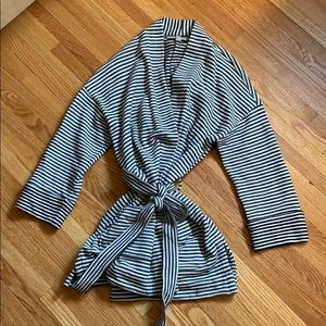 LOFT Navy and White Striped Belted Cardigan